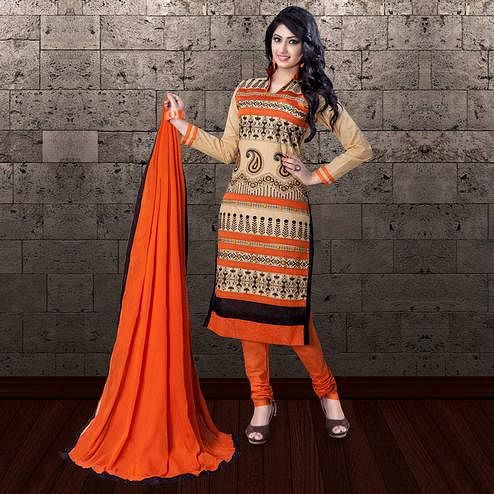 Amazing Beige-Orange Colored Partywear Embroidered Cambric Cotton Dress Material