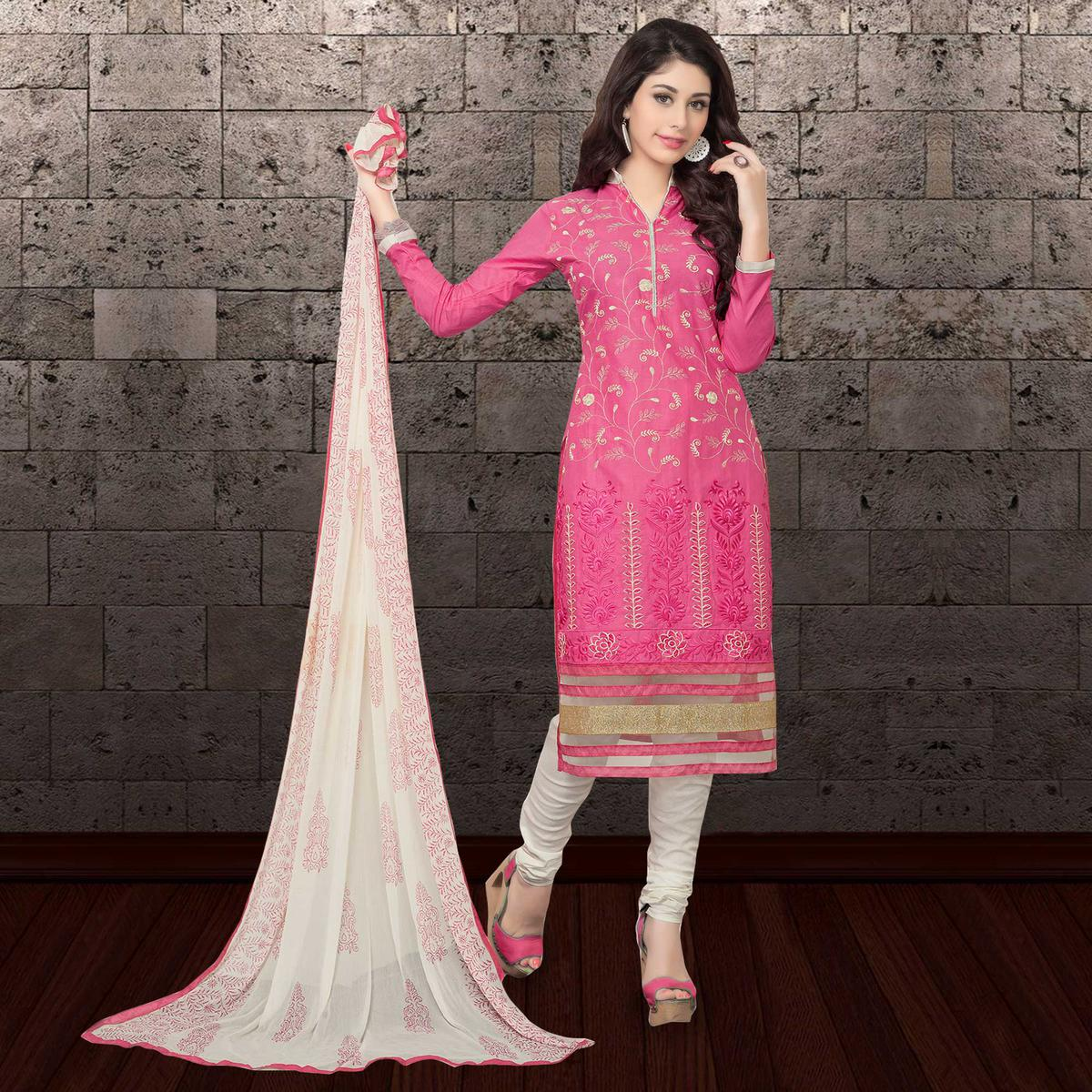 Appealing Pink Colored Partywear Embroidered Cambric Cotton Dress Material