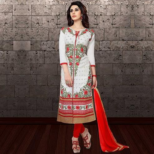 Pleasant White Colored Partywear Embroidered Cambric Cotton Dress Material