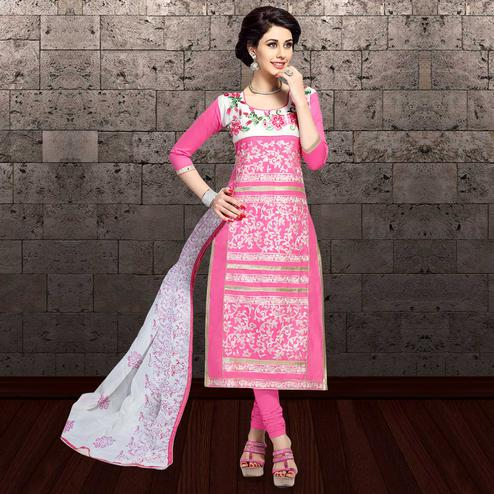 Gorgeous Pink Colored Partywear Embroidered Cambric Cotton Dress Material