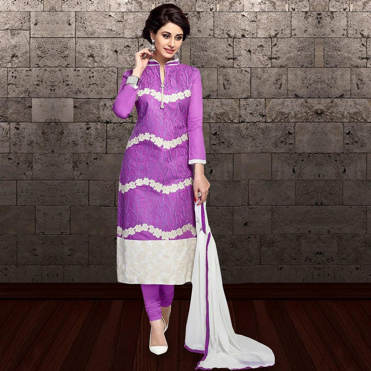 Classy Purple Colored Partywear Embroidered Cambric Cotton Dress Material