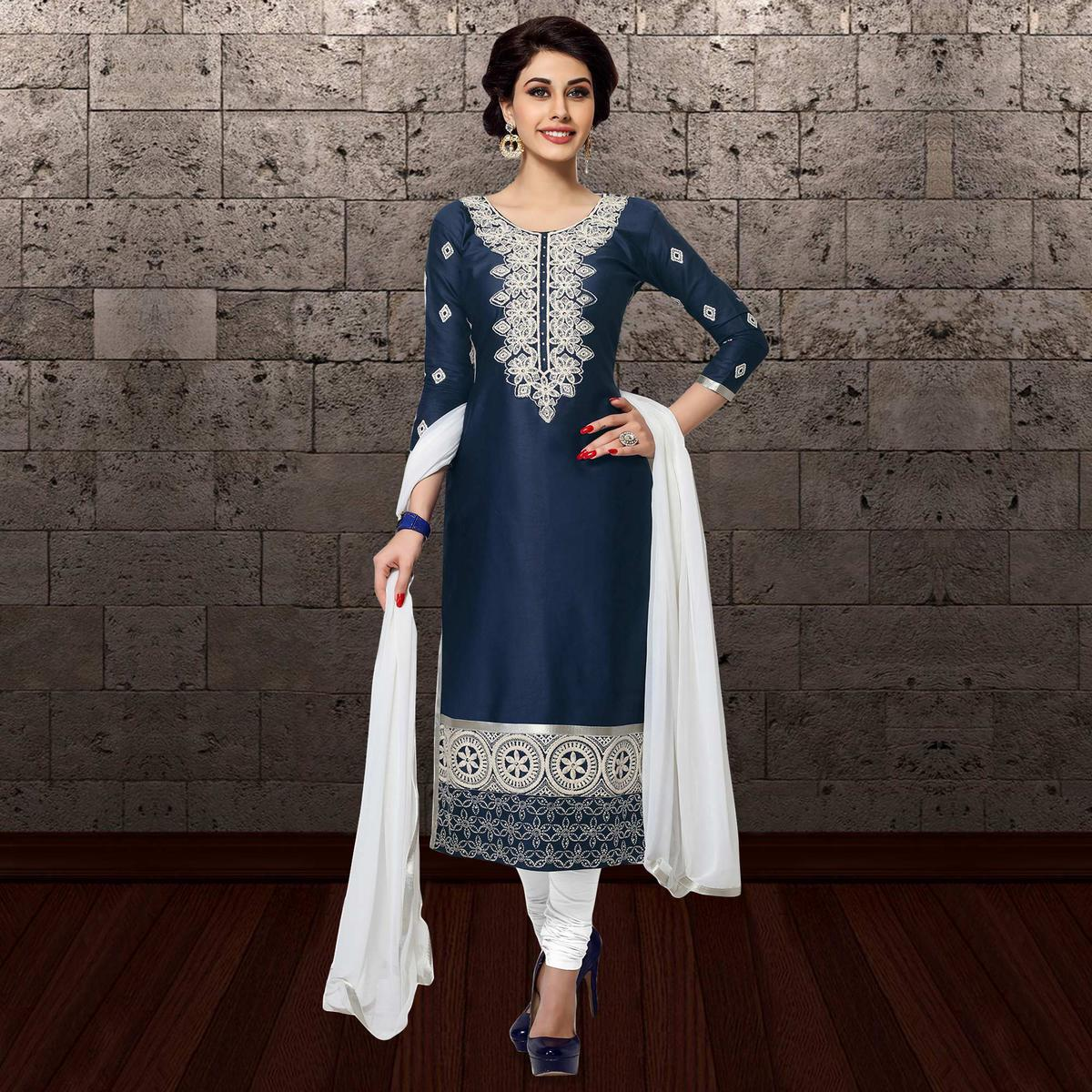 f1583adc0c Buy Blooming Navy Blue Colored Partywear Embroidered Cambric Cotton Dress  Material online India, Best Prices, Reviews - Peachmode
