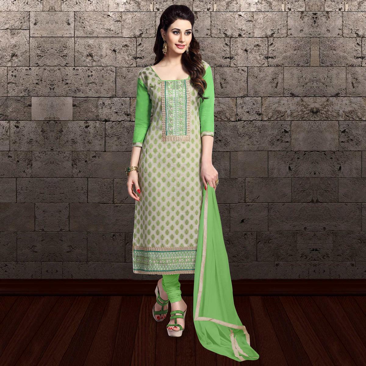 Groovy Green Colored Partywear Embroidered Cambric Cotton Dress Material