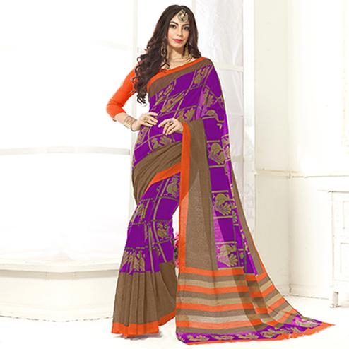 Trendy Purple Printed Cotton Blend Saree