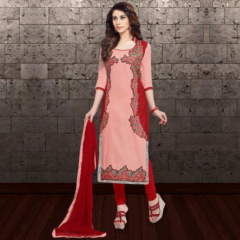 Charming Pink Colored Partywear Embroidered Cambric Cotton Dress Material