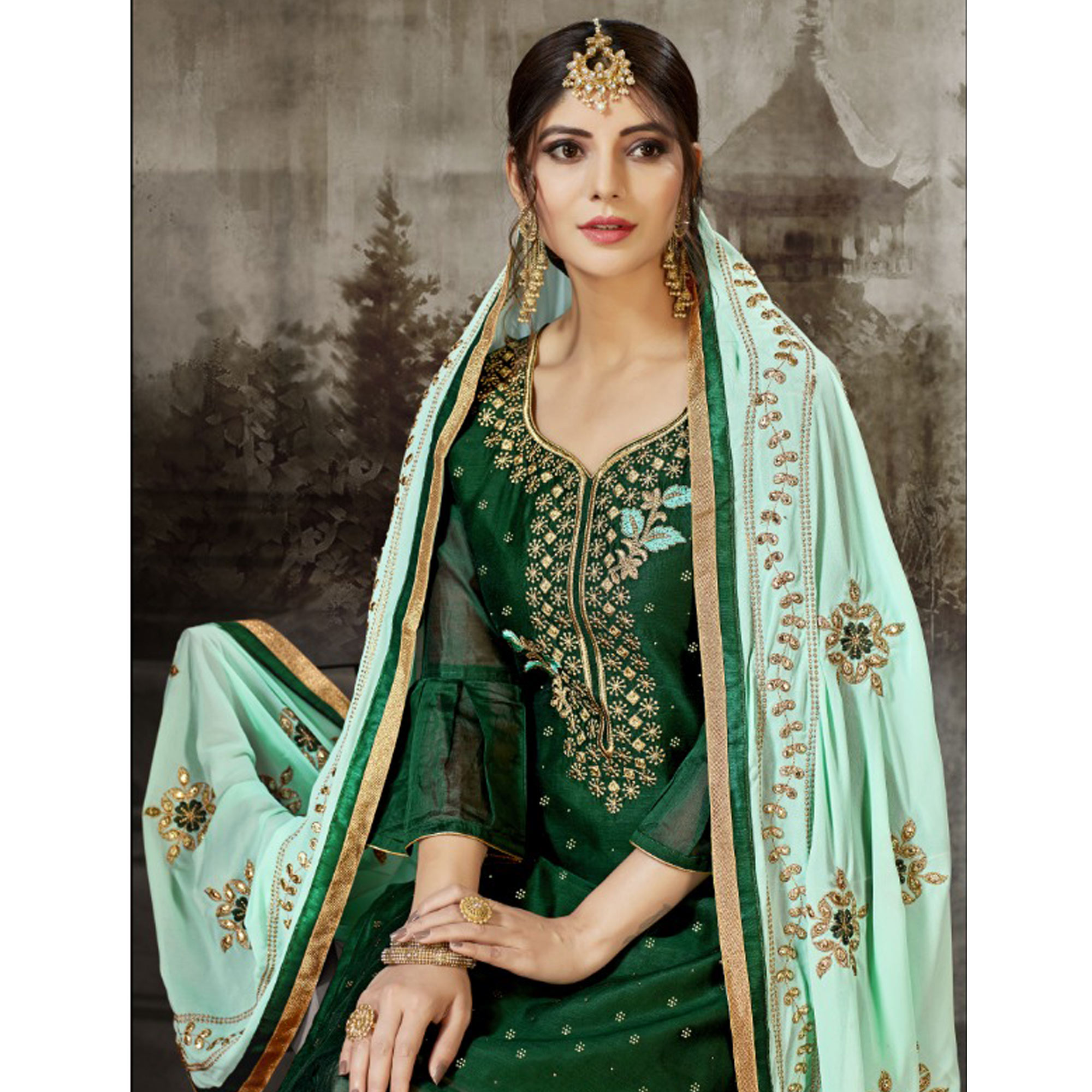 Stunning Green Colored Partywear Embroidered Modal Silk Dress