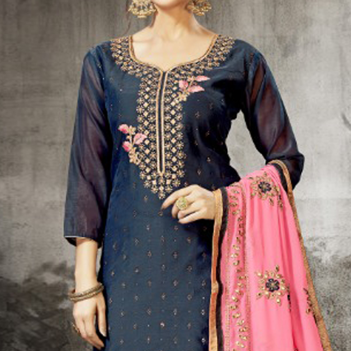 Gorgeous Navy Blue Colored Partywear Embroidered Modal Silk Dress