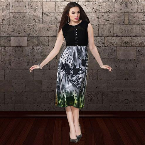 Exotic Grey & Black Colored Party Wear Printed Georgette Kurti