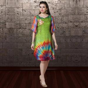 Majesty Green Colored Party Wear Printed Georgette Kurti