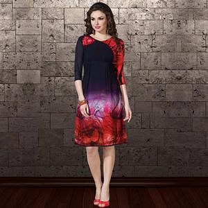 Preferable Navy Blue & Red Colored Party Wear Printed Georgette Kurti