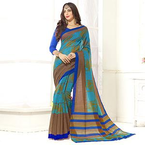 Trendy Turquoise Blue Printed Cotton Blend Saree