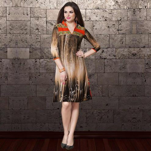 Beautiful Brown & Cream Colored Party Wear Printed Georgette Kurti