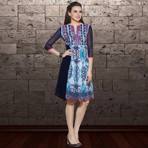 Gorgeous Blue Colored Party Wear Printed Georgette Kurti