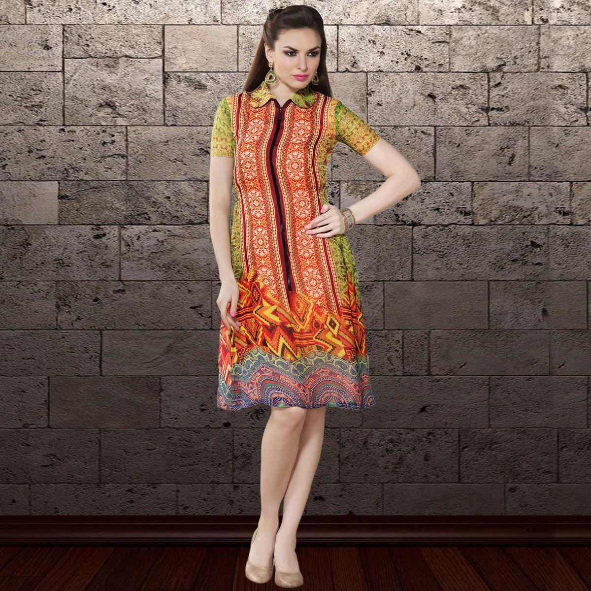 Classy Orange & Green Colored Party Wear Printed Georgette Kurti