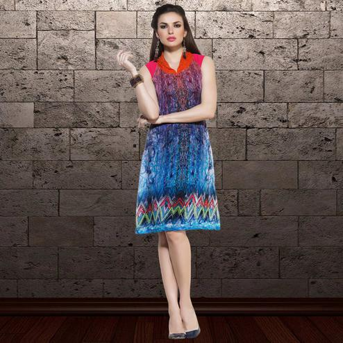 Glorious Blue Colored Party Wear Printed Georgette Kurti