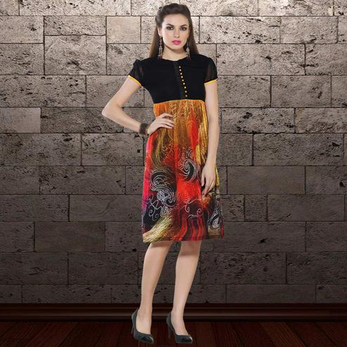 Graceful Black & Multi Colored Party Wear Printed Georgette Kurti