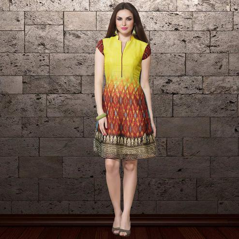 Lovely Yellow & Maroon Colored Party Wear Printed Georgette Kurti