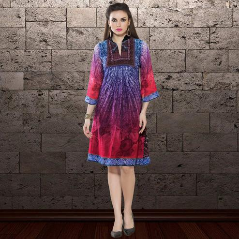 Pretty Blue & Pink Colored Party Wear Printed Georgette Kurti