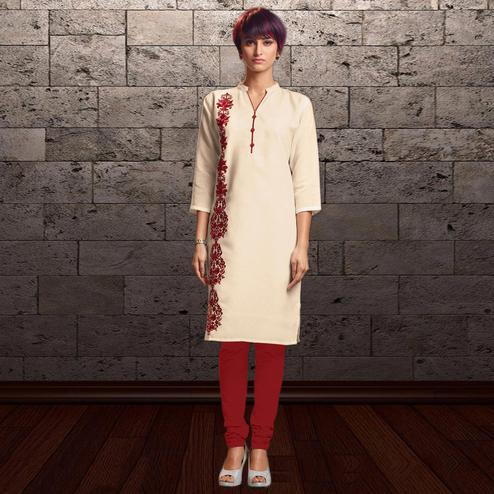 Pretty Off White Casual Wear Printed Cotton Kurti