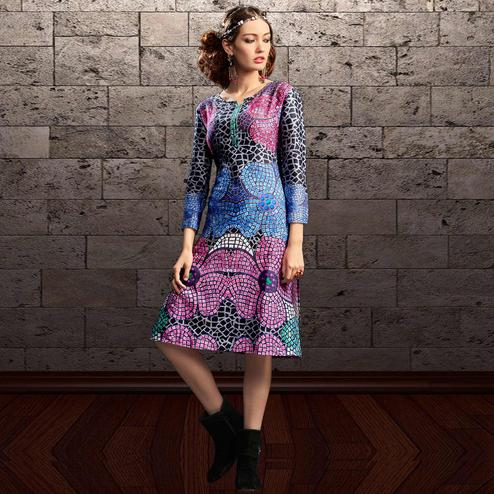 Charming Multi Colored Party Wear Printed Cotton Kurti
