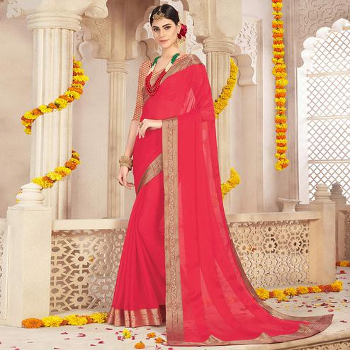 Lovely Peach Colored Casual Wear Chiffon Saree