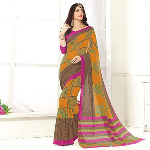 Trendy Orange Printed Cotton Blend Saree