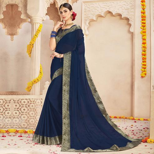 Demanding Navy Blue Colored Casual Wear Chiffon Saree