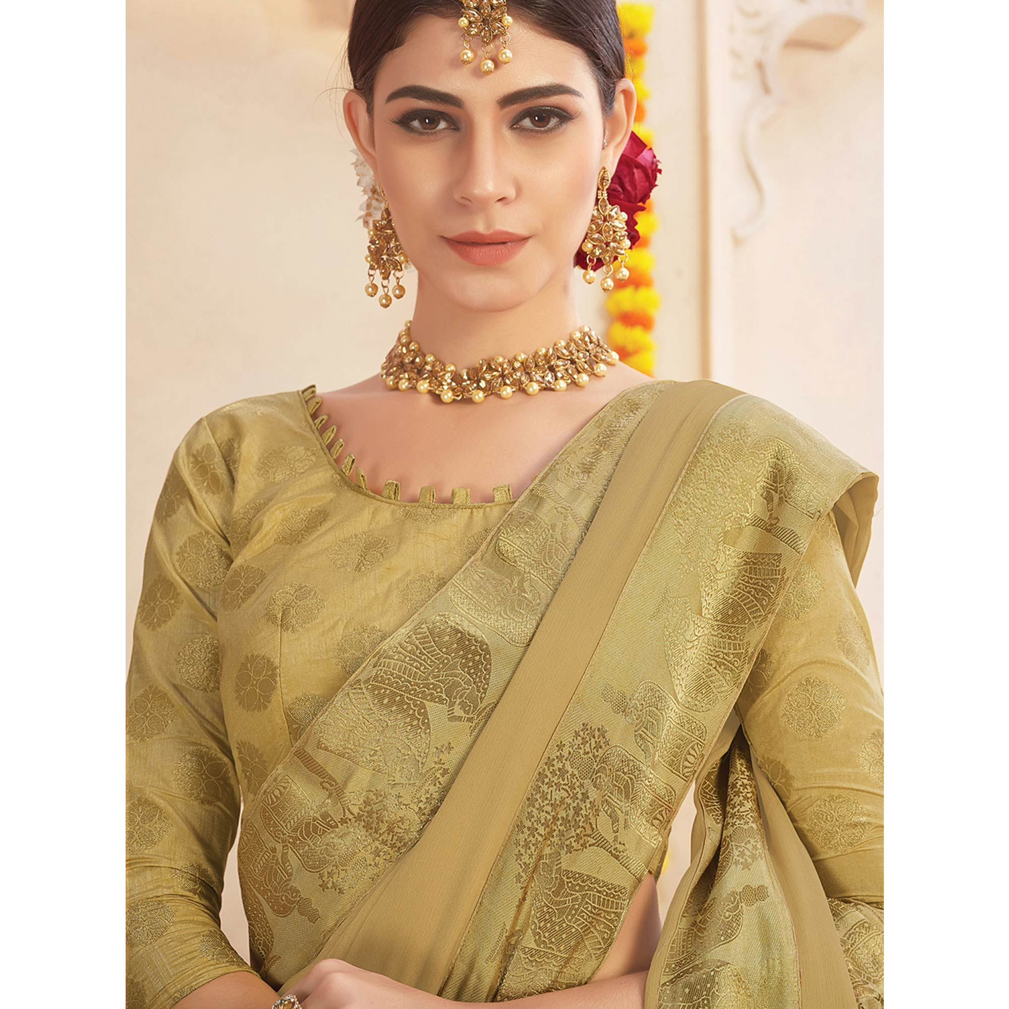 Appealing Beige Colored Casual Wear Chiffon Saree