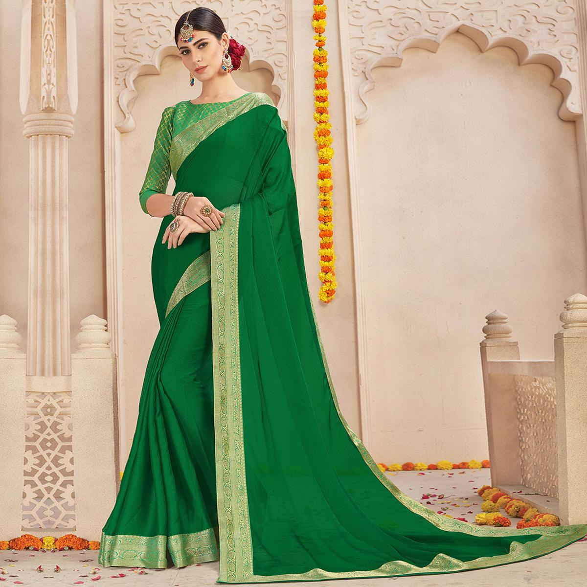 Gorgeous Green Colored Casual Wear Chiffon Saree