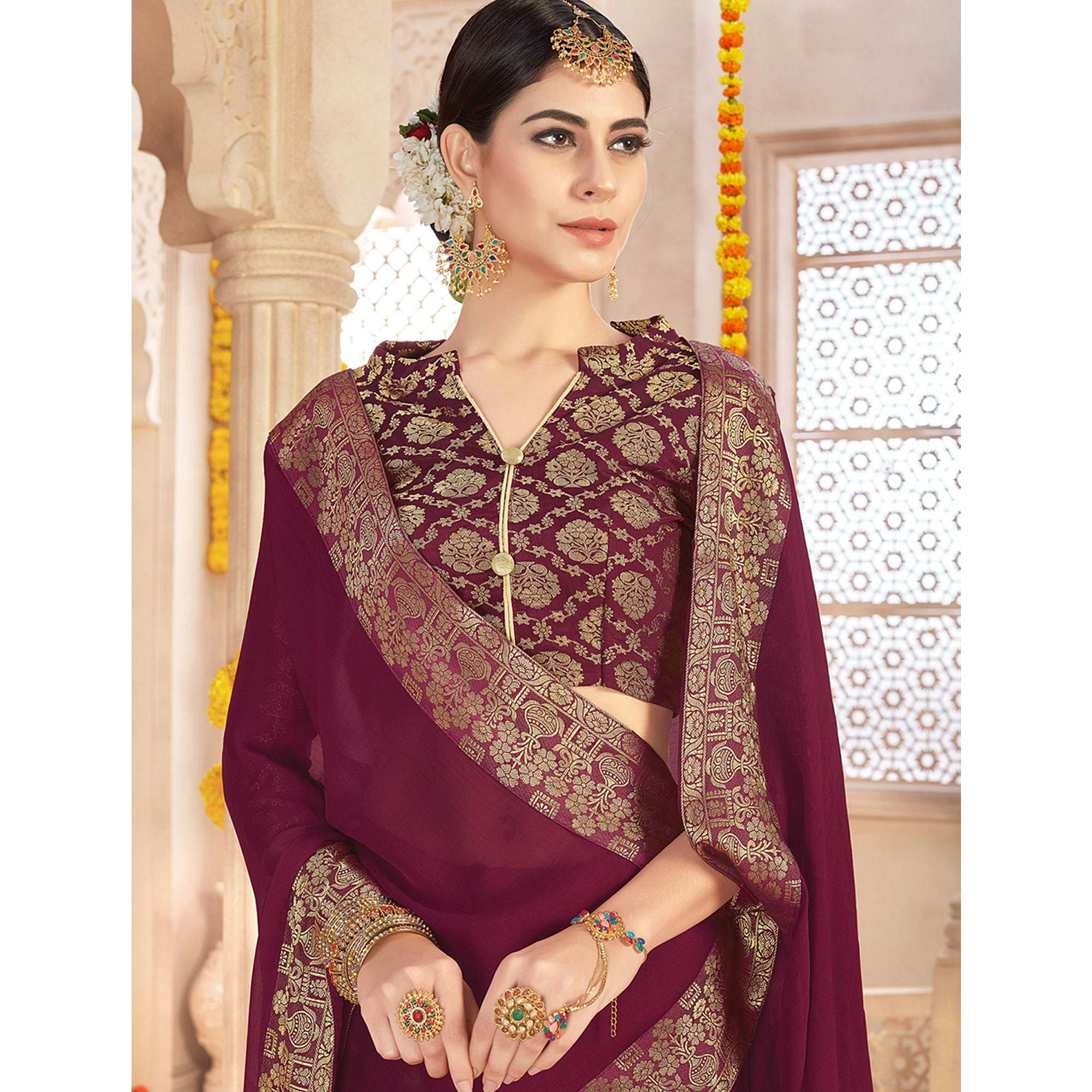 Classy Wine Colored Casual Wear Chiffon Saree