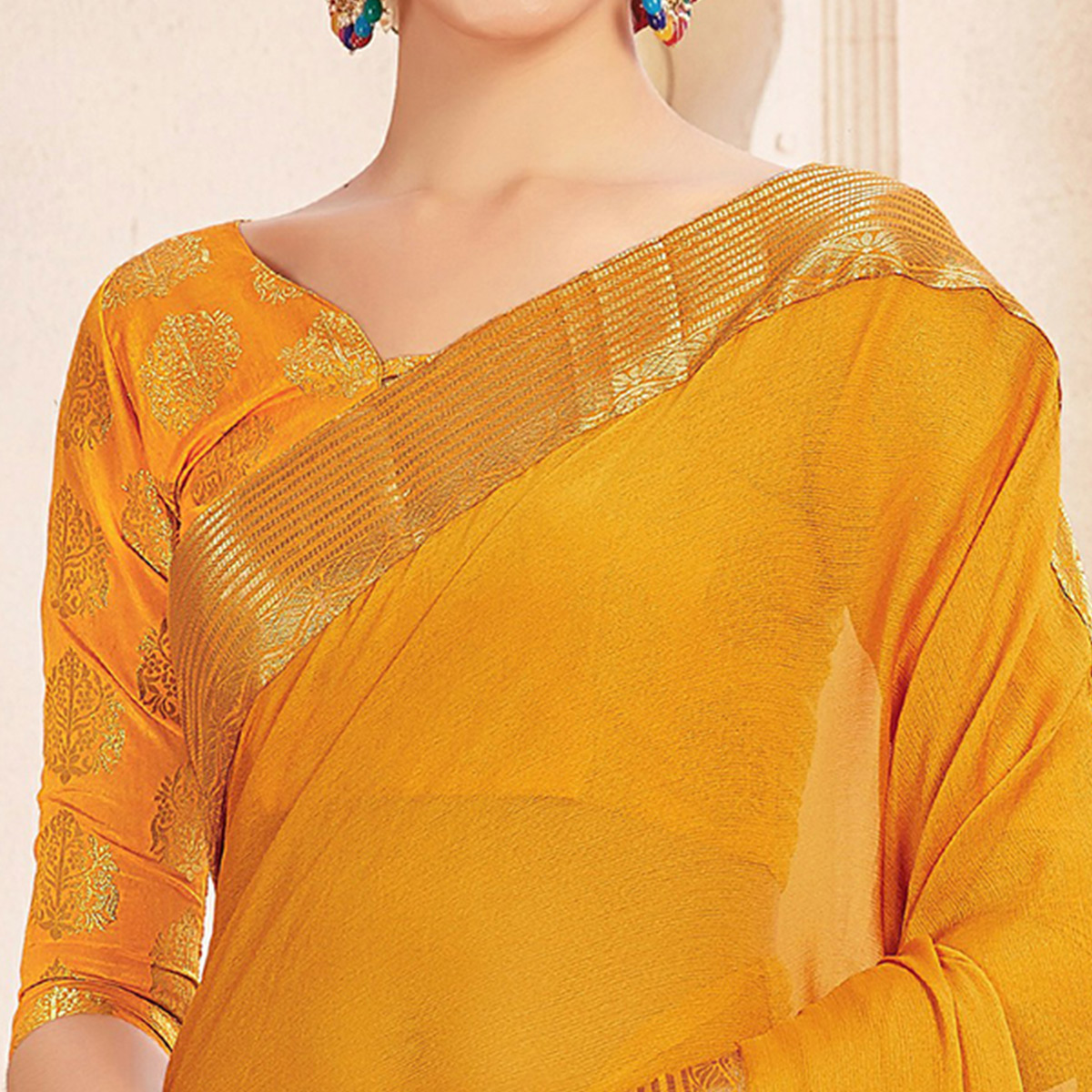 Glowing Yellow Colored Casual Wear Chiffon Saree
