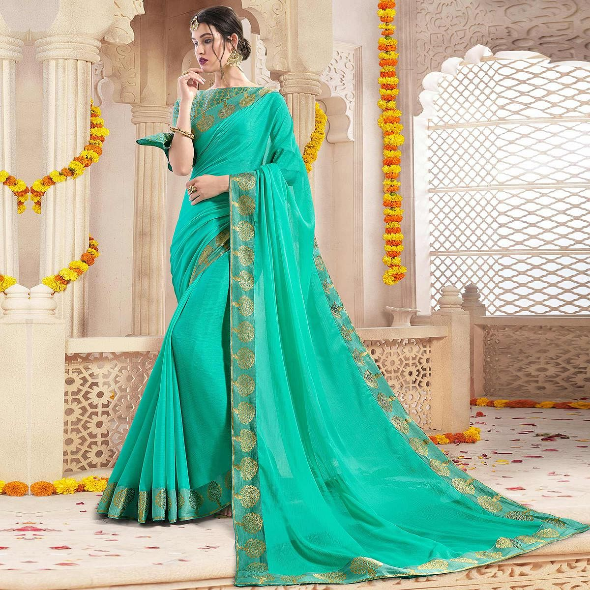Refreshing Turquoise Green Colored Casual Wear Chiffon Saree