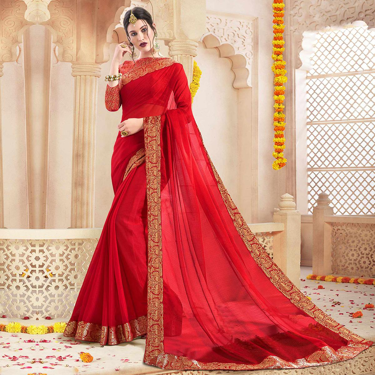 Stunning Red Colored Casual Wear Chiffon Saree