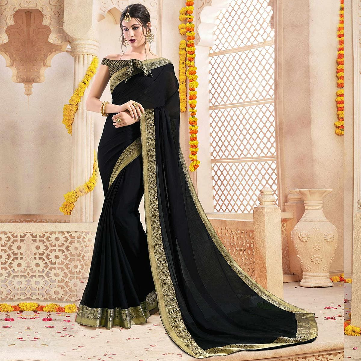Flaunt Black Colored Casual Wear Chiffon Saree