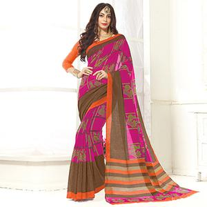 Trendy Pink Printed Cotton Blend Saree