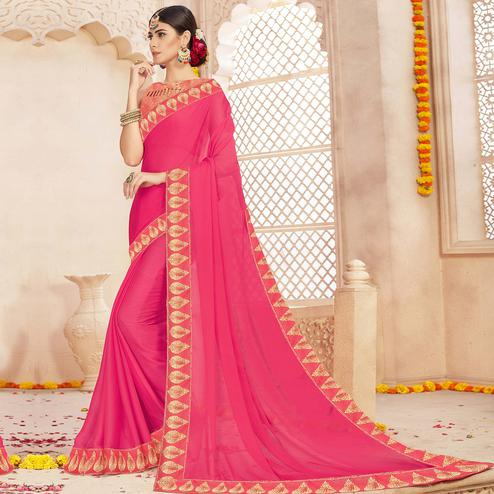 Charming Pink Colored Casual Wear Chiffon Saree