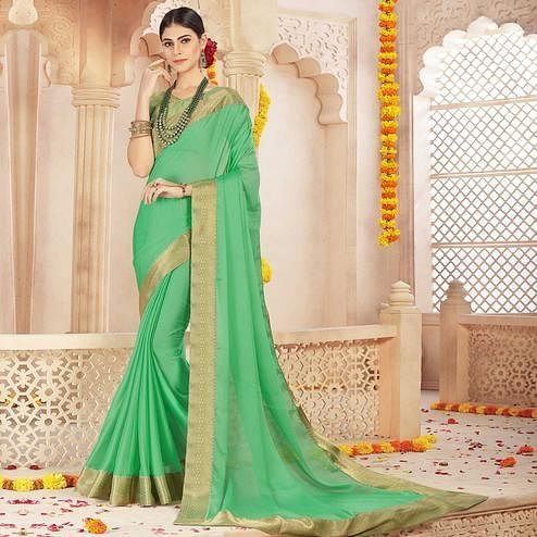 Gleaming Green Colored Casual Wear Chiffon Saree