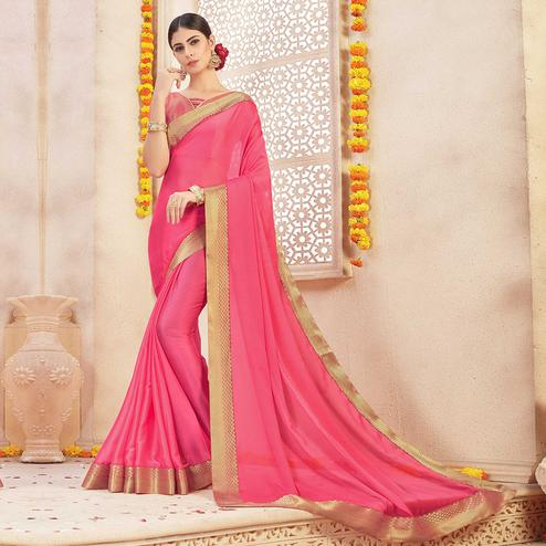 Unique Pink Colored Casual Wear Chiffon Saree