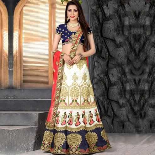 Eye-Catching Cream Blue Colored Partywear Embroidered Banglori Silk Lehenga Choli