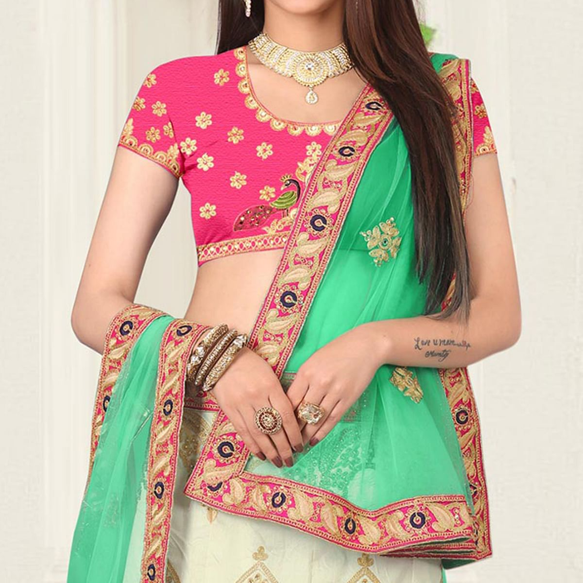 Groovy Cream Pink Colored Partywear Embroidered Banglori Silk Lehenga Choli