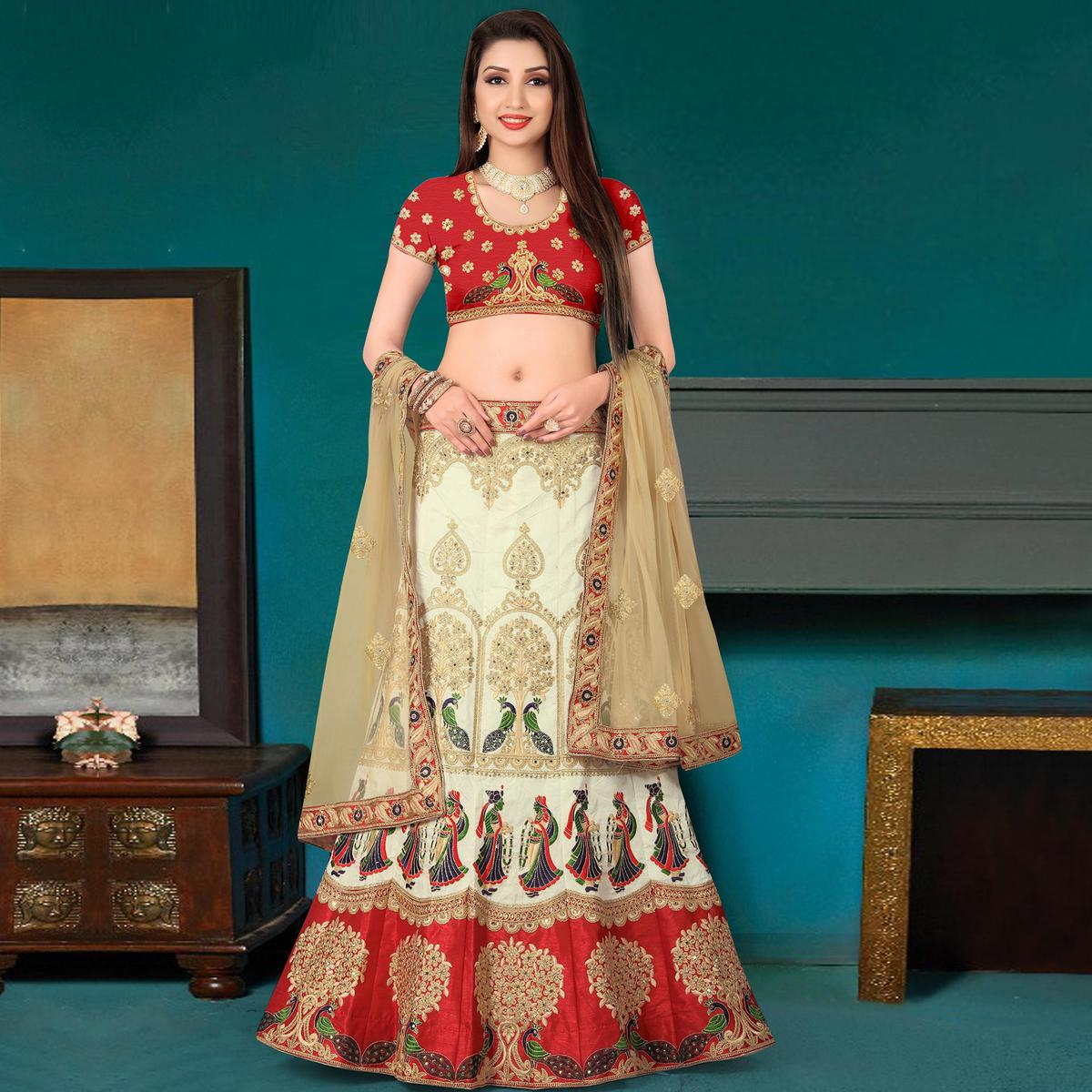 Classy Cream Red Colored Partywear Embroidered Banglori Silk Lehenga Choli