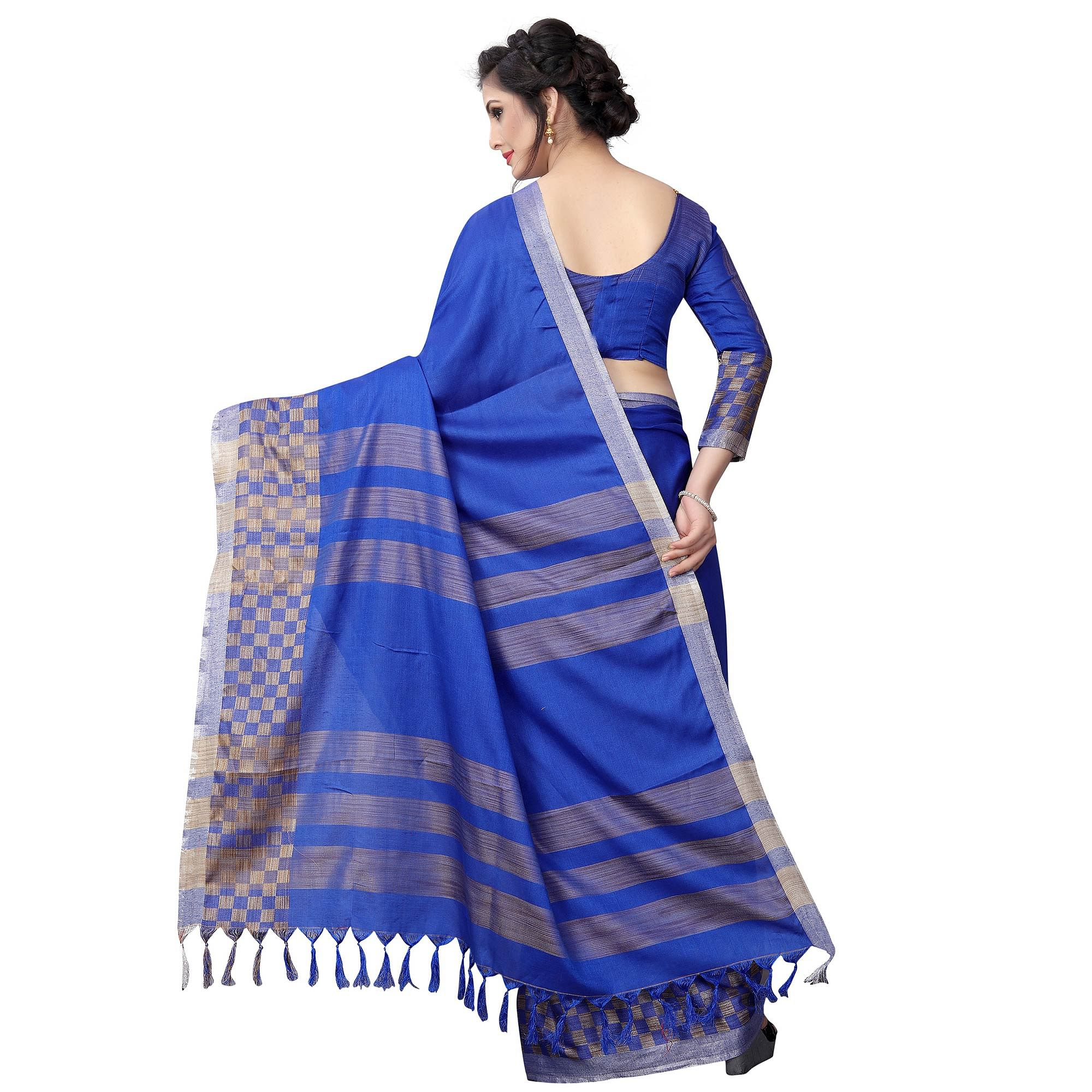Beautiful Blue Colored Casual Wear Cotton Linen Saree