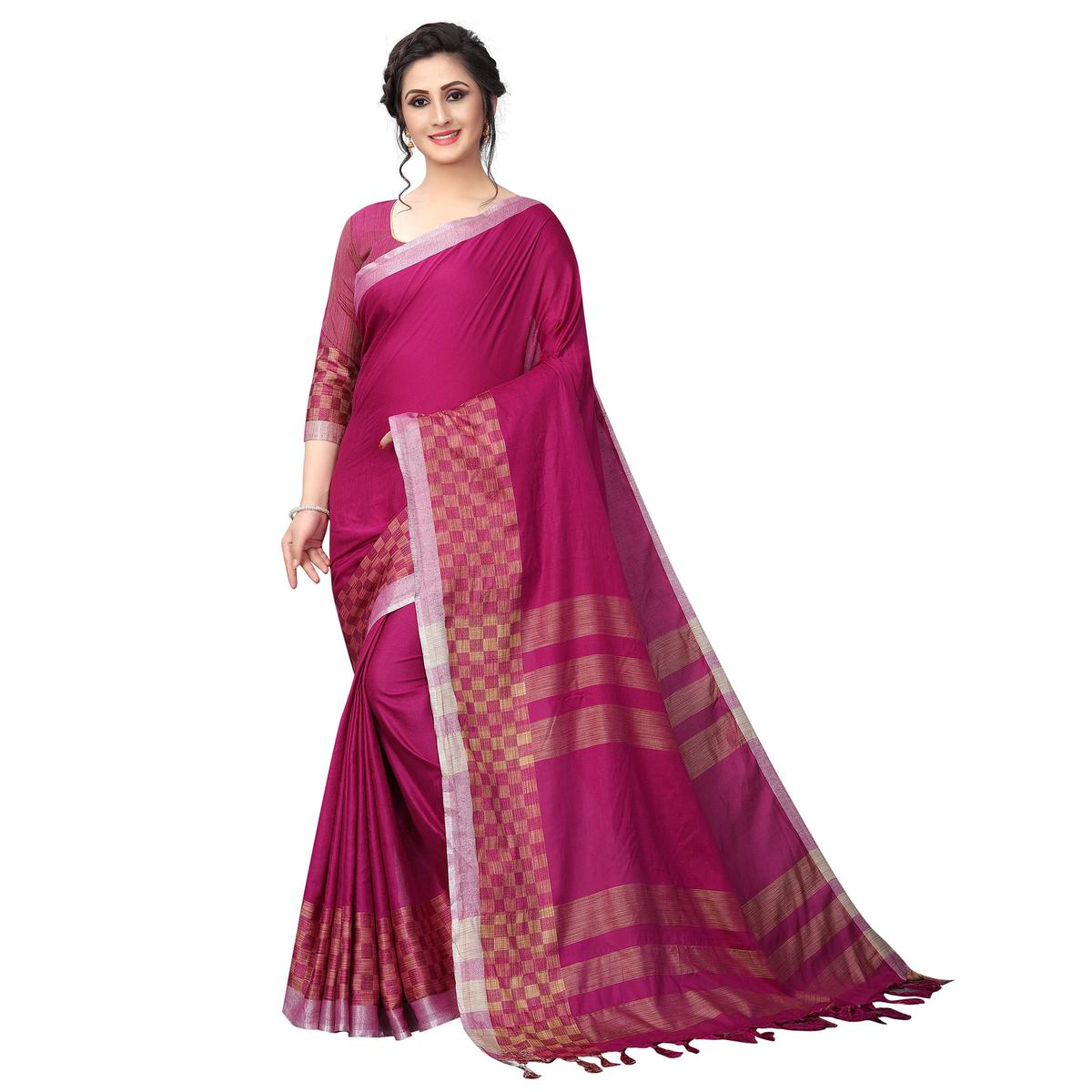 Elegant Pink Colored Casual Wear Cotton Linen Saree