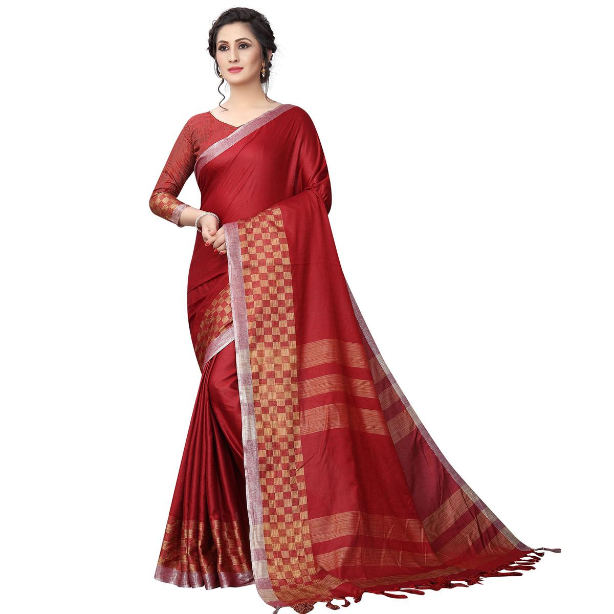 Classy Red Colored Casual Wear Cotton Linen Saree
