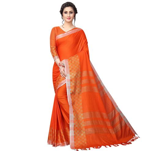 Lovely Orange Colored Casual Wear Cotton Linen Saree