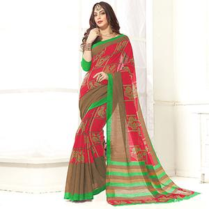 Trendy Red Printed Cotton Blend Saree