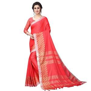 Blooming Coral Red Colored Casual Wear Cotton Linen Saree