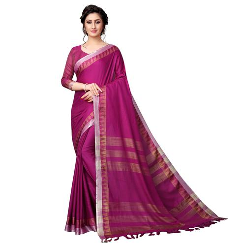 Eye-Catching Rani Pink Colored Casual Wear Cotton Linen Saree
