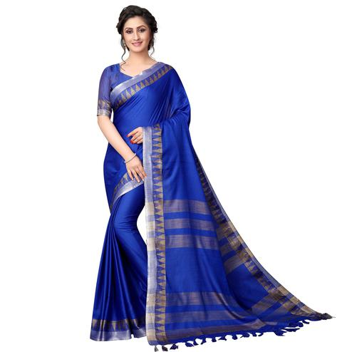 Adorable Blue Colored Casual Wear Cotton Linen Saree