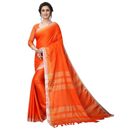 Trendy Orange Colored Casual Wear Cotton Linen Saree